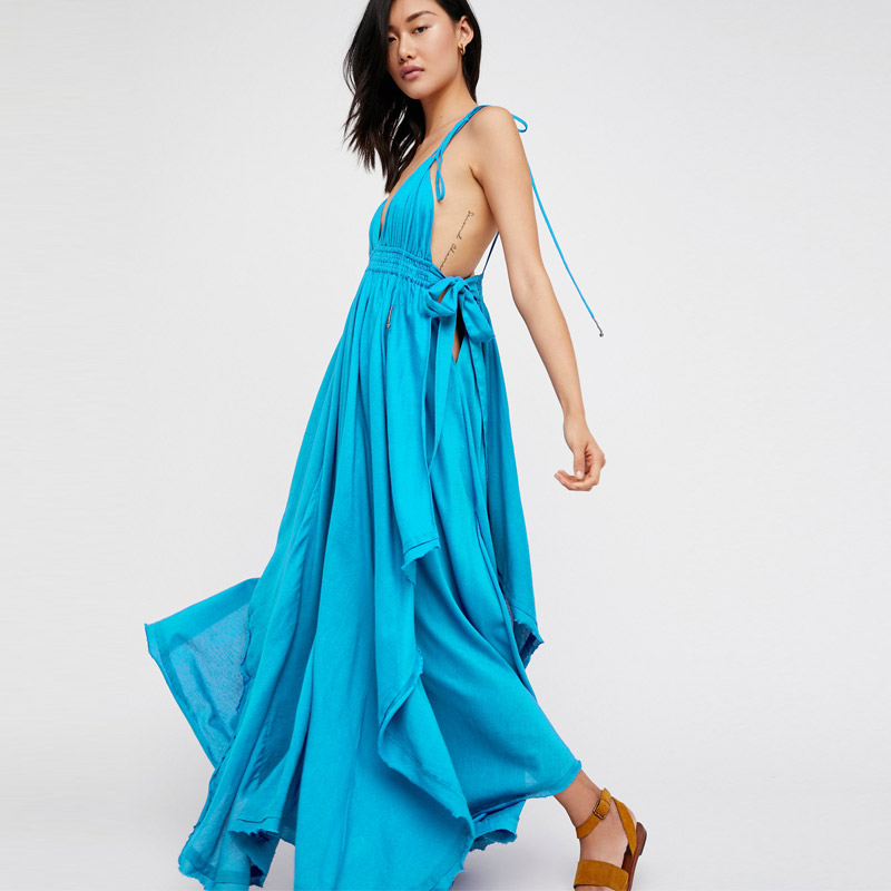 Tropical Heat Long Dress V Neck Strappy Dress Boho People Sleeveless Holiday Vestidos Mujer Cotton Asymmetrical Maxi Dress