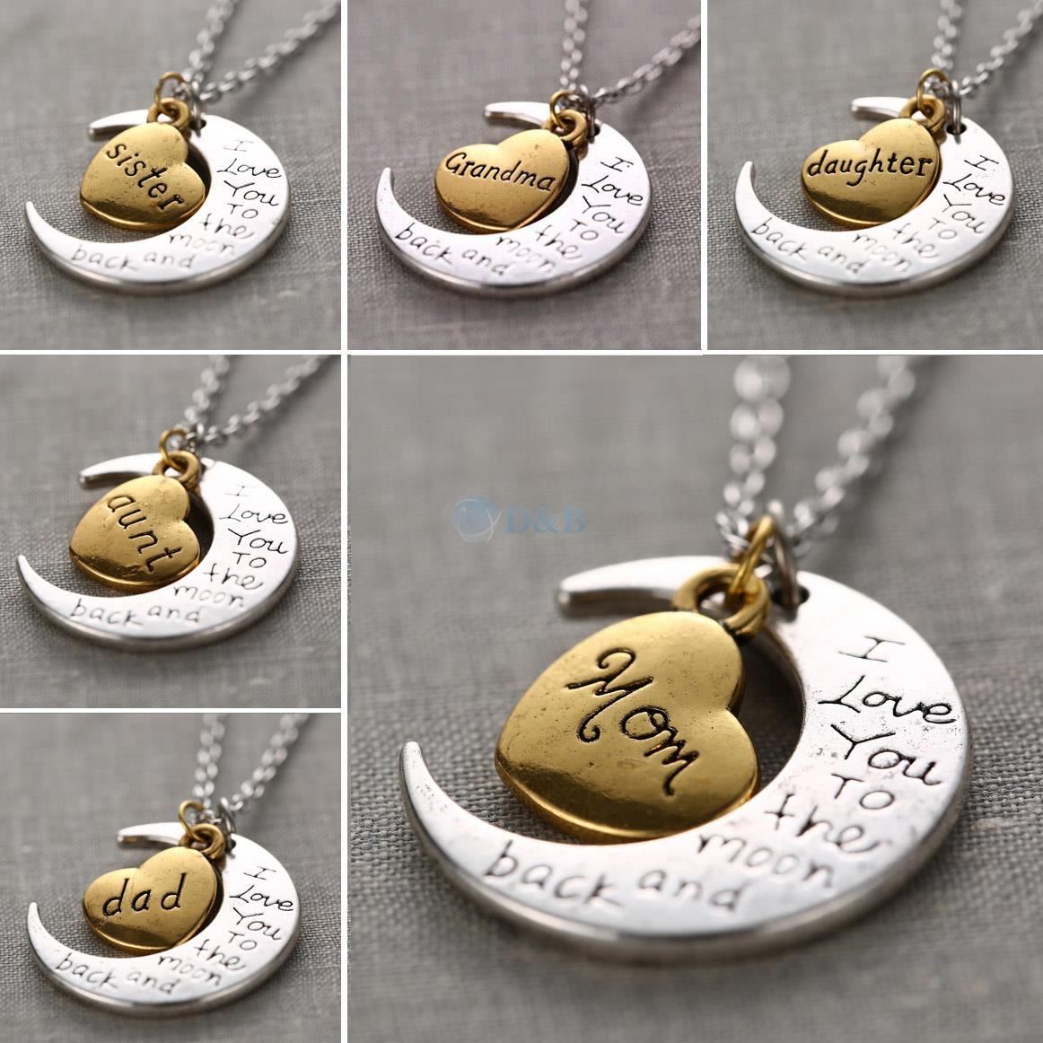 I Love You To The Moon And Back Silver Necklace Vintage Family ...