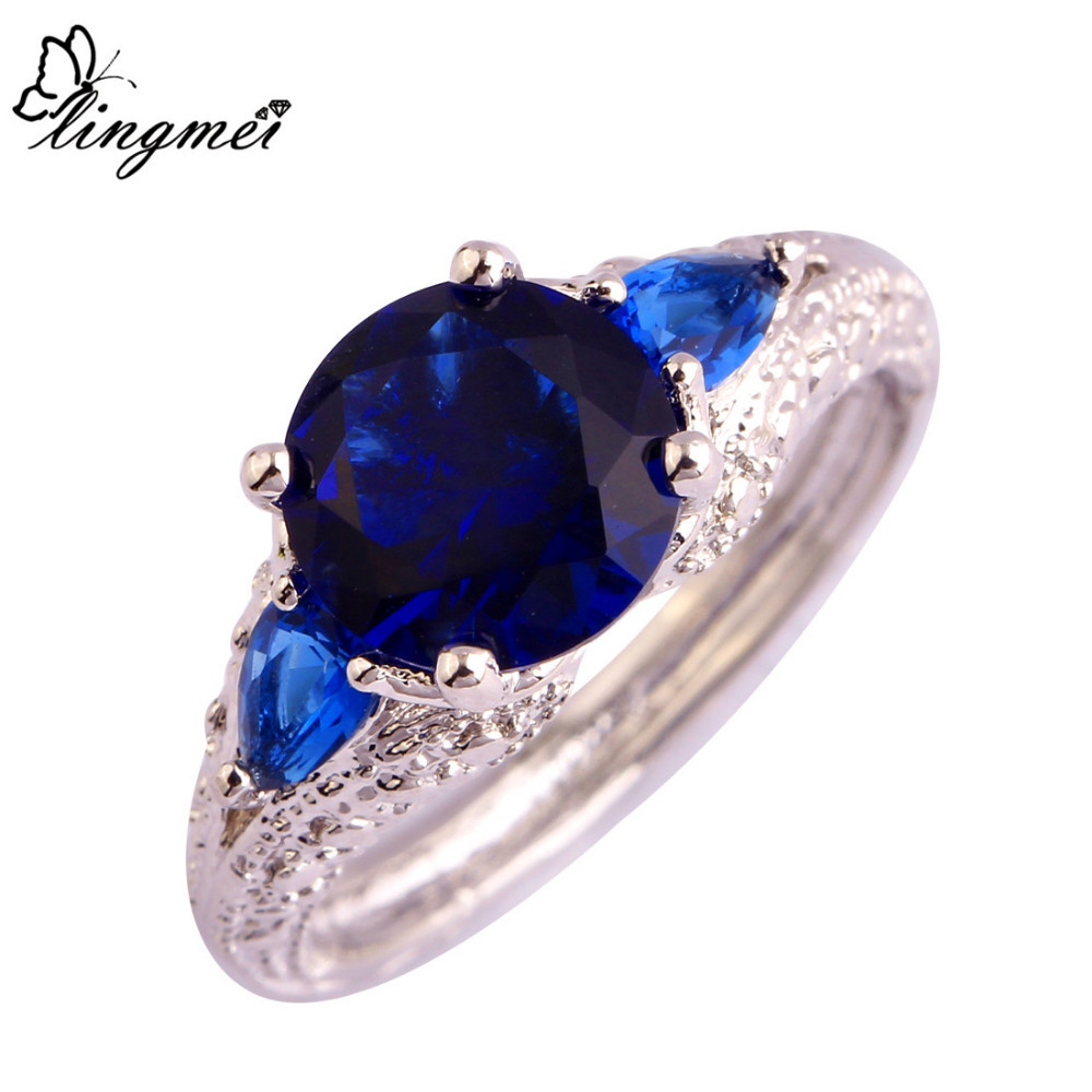 lingmei New Arrival Fashion Jewelry Blue AAA CZ Silver Color Ring Size 6 7 8 9 10 11 For Women Party Free Shipping Wholesale