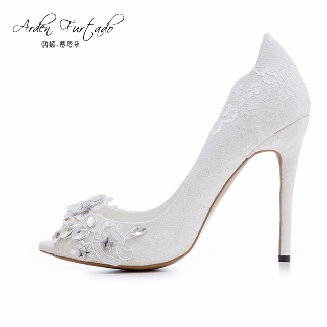 Arden Furtado new 2017 summer high heels peep toe wedding flowers crystal  thin heels rhinestone sexy woman shoes for lady pumps 43a96c232284