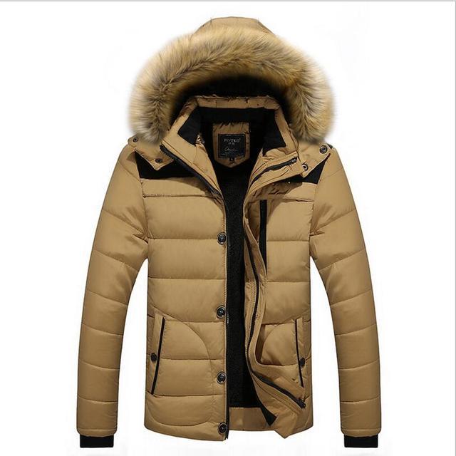 Autumn Winter With Fur Hooded Jacket Men Parka Short Quilted Padded Wadded Windbreaker Male Coat Parkas Korean Overcoat warm 8XL
