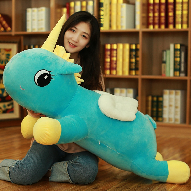 купить stuffed toy large 100cm cartoon unicorn plush toy lovely blue unicorn soft doll sleeping pillow Christmas gift s2714 по цене 5303.13 рублей