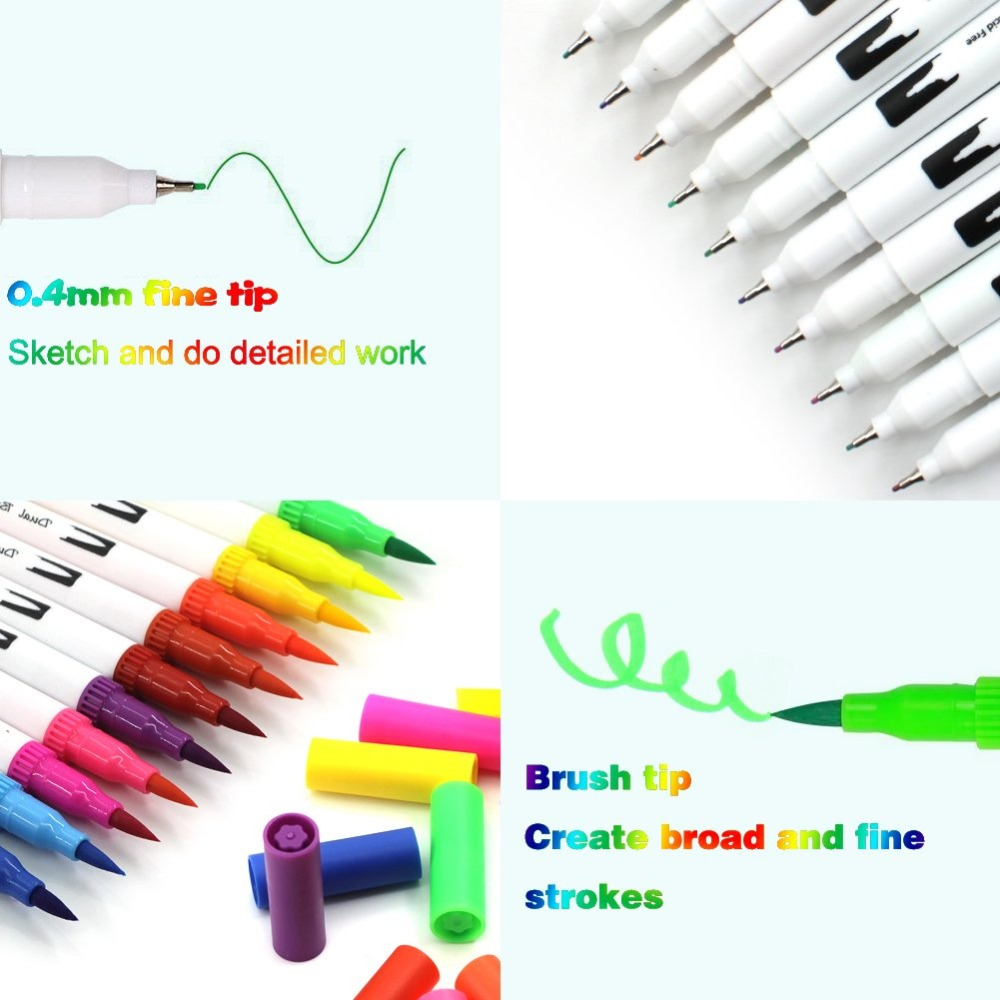 Art Markers Dual Tips Coloring Brush Fineliner Color Pens100 Colors Of Water Based Marker For Calligraphy Drawing Sketching Pen