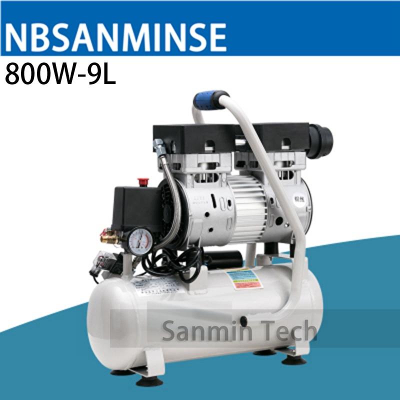 800W - 9L Mini Air Compressor Oilless High Pressure Mute Design Wood Working Home Application AC220V High Quality Sanmin 1 1 9l