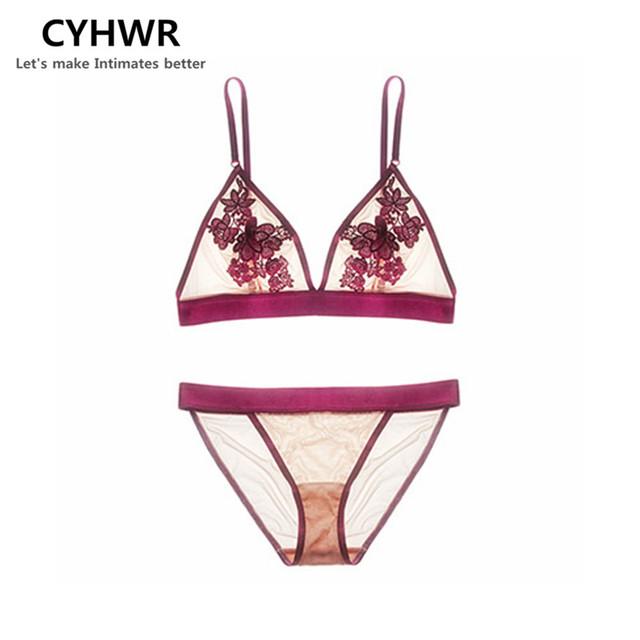 CYHWR Fio Livre 3/4 Xícara Lingerie de Renda Sexy Cozy 3 Cores Moda Bra & Brief Set para Senhoras