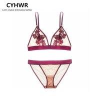 CYHWR Sexy Cozy Wire Free 3 4 Cup Underwear Lace 3 Color Fashion Bra Brief Set