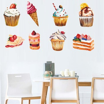 Delicious Dessert Cupcake Wall Art Decals For Resturant Dining Room Vinyl Wall Sticker Removable Wallpaper For Modern Home Decor