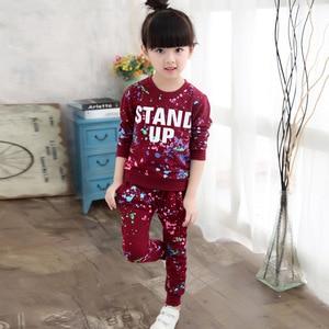 Image 3 - ילדי בגדי סתיו אביב בנות בגדי סט תלבושת ילדים בגדי ילדה חליפת ספורט ילדה בגדי סטי 3T 14TYear