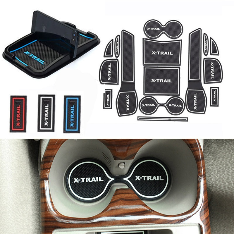 For Nissan X-Trail T32 2014 2015 Anti-Slip Rubber Cup Cushion Door Mat Rogue X Trail 2015 Phone Holder Car Styling Sticker велосипед commencal meta trail essential plus 2015