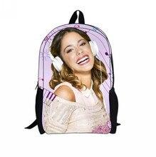 Violetta Girls School Bag New Fashion 3D Cartoon Bag Violetta Printed Children Kids School Backpack 2016