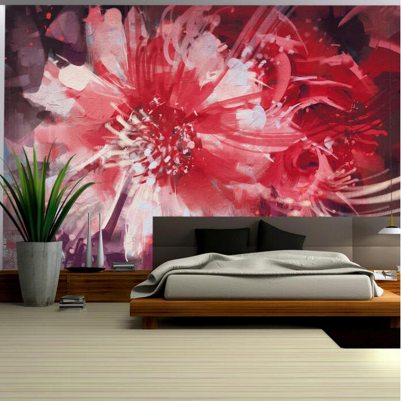 Flowers Wall Wallpapers Design For Your Bedrooms Decorating: Red Wallpaper For Walls Abstract Floral Flower Wall Mural