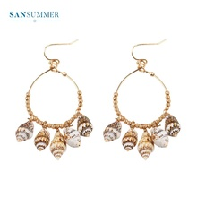 Sansummer 2019 New Hot Fashion Conch Ocean Series Round Ethnic Style Bohemia Earrings For Women Pendant Tassels Jewelry 738