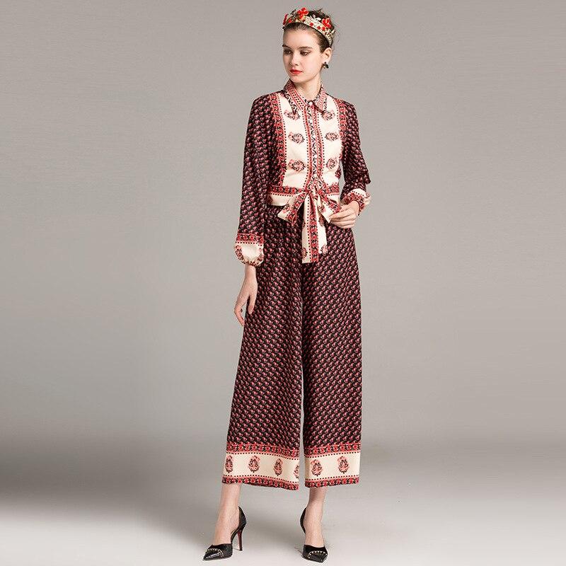 Здесь продается  YMOJNV New Spring Two-piece Suit Women Set Lapel Lacing Hidden Breasted Lantern Sleeve Blouse Shirt + Wide Leg Pants Suit Print  Одежда и аксессуары