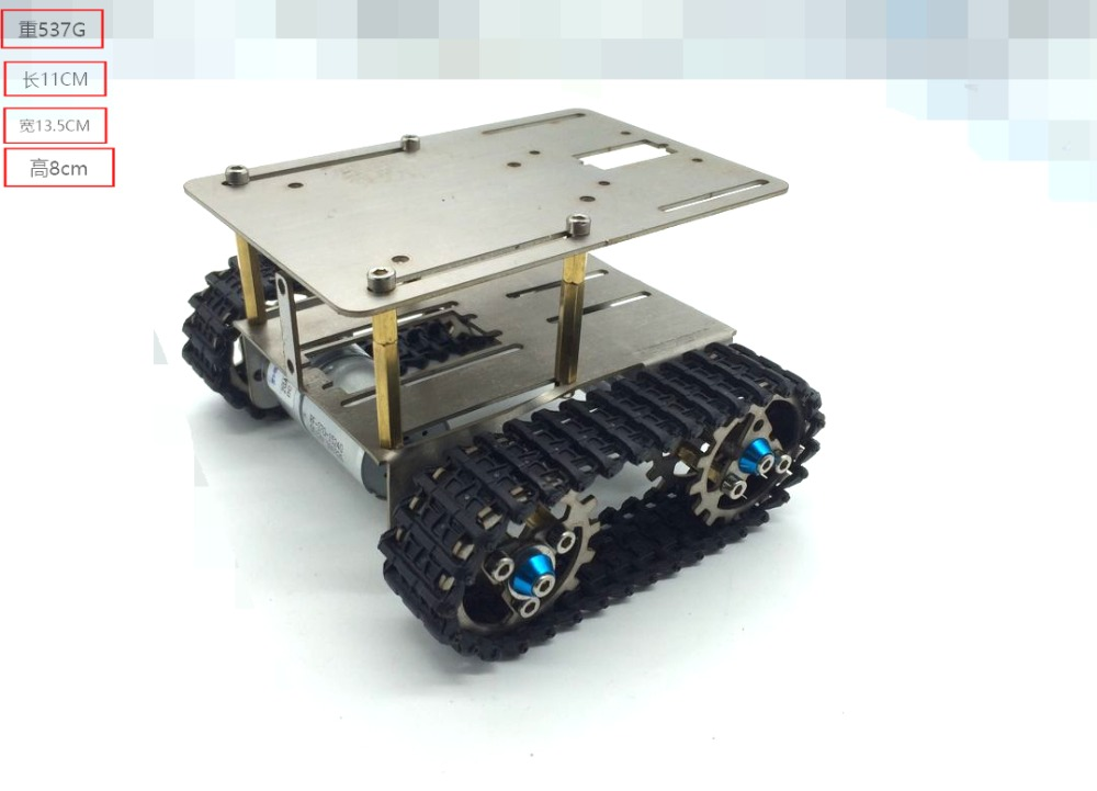 Metal tank chassis model with two motor 2wd crawler tracked vehicle caterpillar