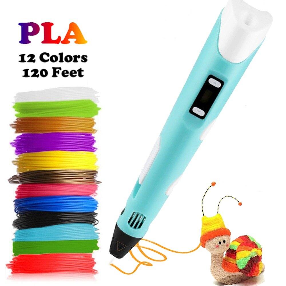 Dikale 3D הדפסת עט 12V 3D עט עיפרון 3D ציור עט משלוח 36m PLA נימה עבור ילד ילד חינוך תחביבים צעצוע מתנת יום הולדת