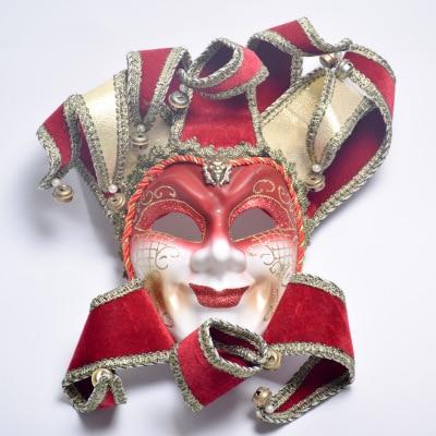 Luxury Full Face Venetian Joker Masquerade Mask Bells Cosplay Mardi Gras Ball Party Mask Wall Decoration