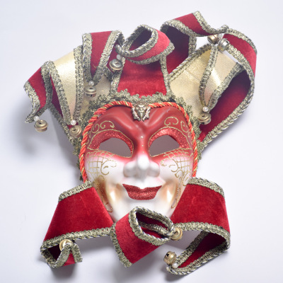 Luxury Full Face Venetian Joker Masquerade Mask Bells Cosplay Mardi Gras Ball Party Mask Wall Decoration