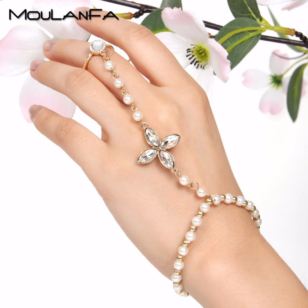 Fashion Artificial Pearl Hand Bracelet Slave Chain Harness Finger Ring Bangle