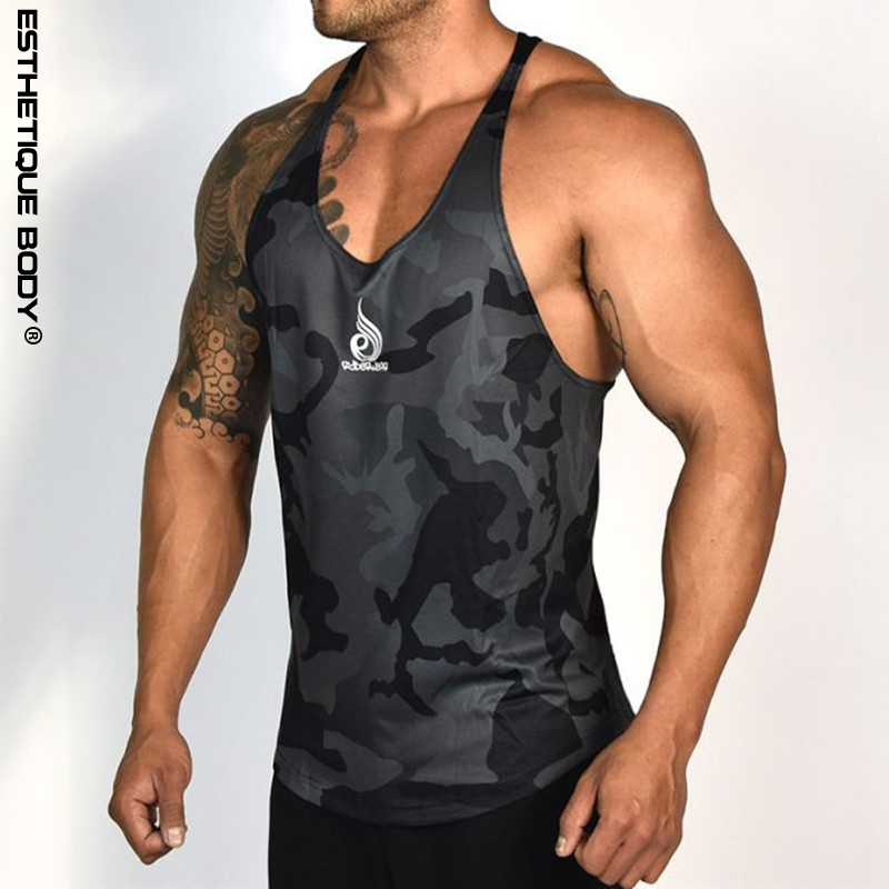 Sport Brand Men's Summer Running Vest Polyester Quick-drying Gyms Men's Bodybuilding Tank Top Camouflage Jogging Tank Top