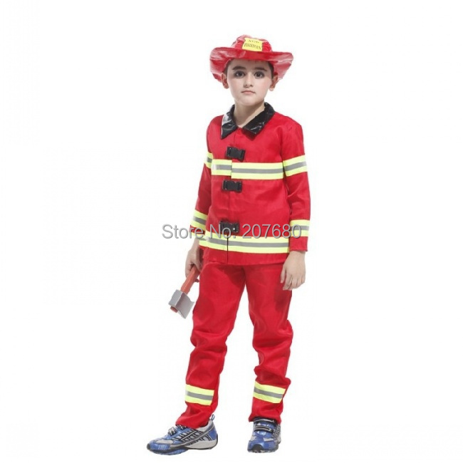 Toddler Firefighter Boys Girls Party Fireman Red Fancy Dress Up Costume