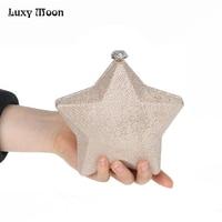 Fashion Star Shape Clutch Bag Gold Silver Starfish Metal Box Evening Clutch Glitter Mini Purse Chain Handbag bolsa feminina A167