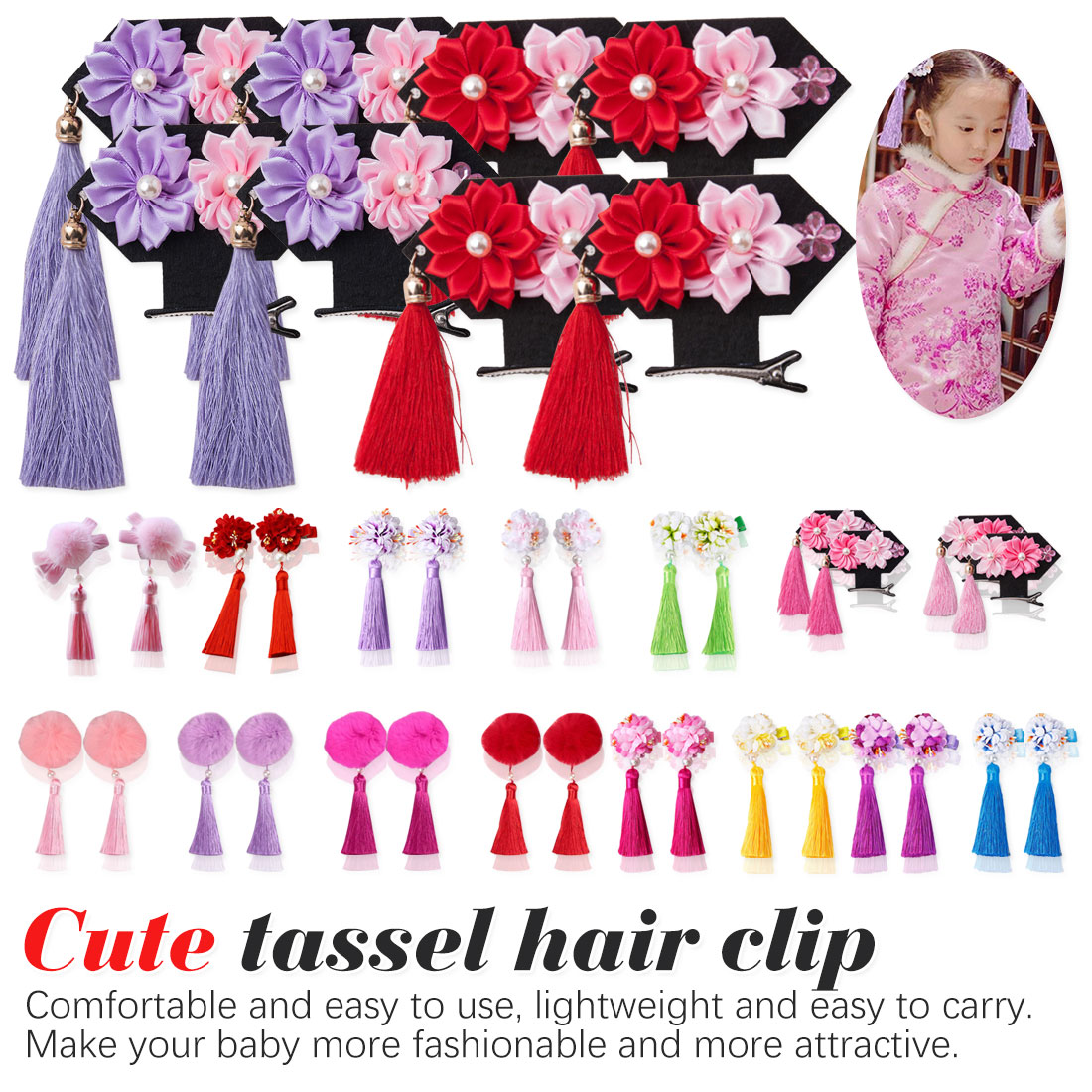 2019 New Fashion Child lovely Hair Chinese Style Traditional Tassels peony Flower Hairpins Children Accessories