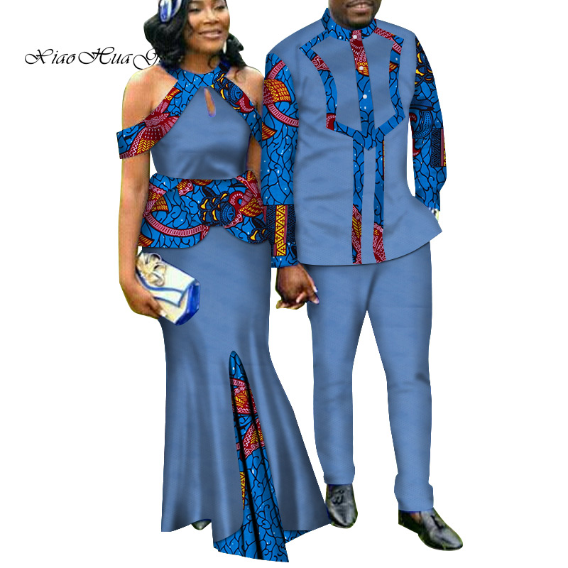 Two Piece Set African Dashiki Print Couple Clothing for Lovers Men's Suit Plus Women's Party Maxi Dress WYQ188 - 2