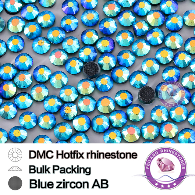 Blue Zircon AB Size SS16 SS20 SS30 Bulking Packing Round Flatback Glass DMC Hotfix Rhinestone For Garments Bags And Shoes