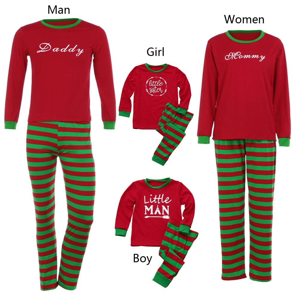 Man&Kid Girl Family PJS Christmas new year costume Home Pajamas clothing Set Printed Blouse Top+Santa Striped Pant winter Outfit