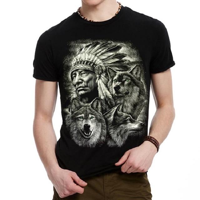 84d68e5a Fashion Men's cotton 3D T-shirt Indians chieftain Animal Print Short Sleeve  T Shirt Casual Tops Tees Mens tshirt BMTX49 R