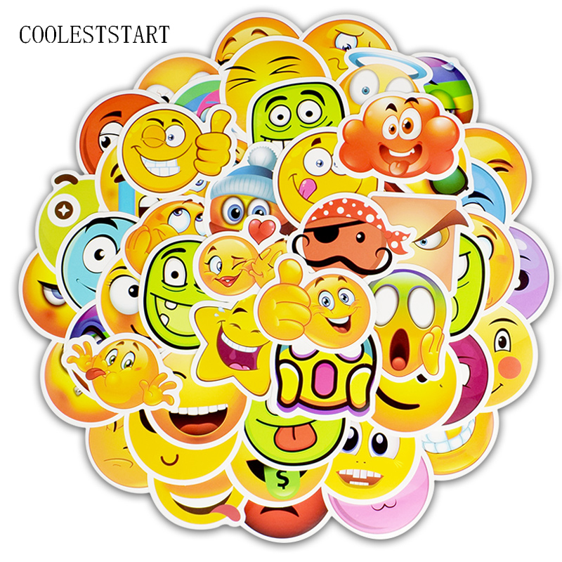 50 Pcs/Set Emoticon Graffiti Stickers Funny Smiling Face Decal Sticker For Luggage  Laptop Notebook Bicycle Refrigerator Sticker