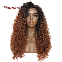 Maycaur Ombre Brown Synthetic Lace Front Wigs Dark Root Kinky Curly Hair Wigs Heat Resistant