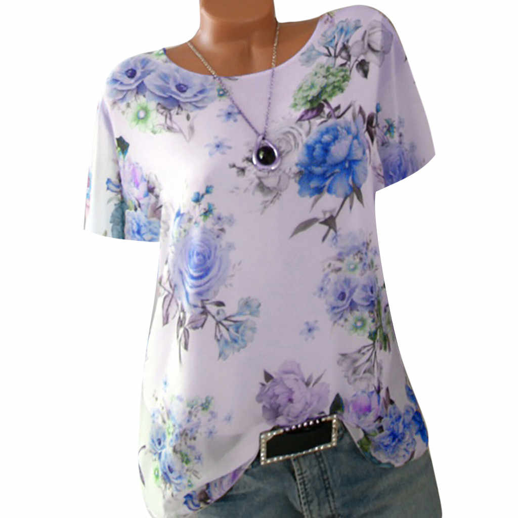Multicolor Top Women Plus Size Short Sleeve Loose Floral Print O-Neck Clothes Pullover Tops Shirt European Aesthetic Clothes Ins