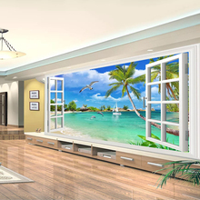 3D Custom Wallpaper Hawaii Window Scenery