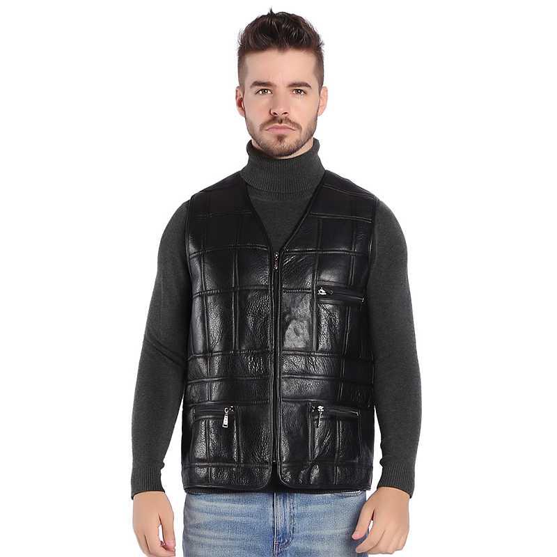 Genuine leather vest mens winter cashmere wool zipper pockets black v neck sleeveless fur gilet real sheepskin waistcoat motorcy