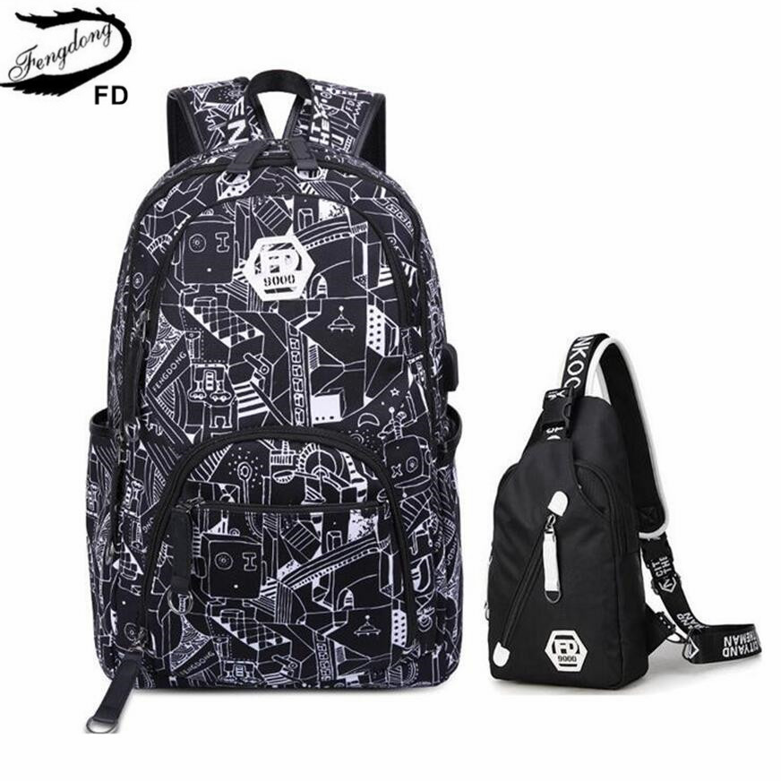 FengDong male black waterproof laptop backpack usb charge men travel bags sling shoulder chest bag school bags for boys bagpack fengdong men backpack oxford youth fashion brand usb charge designer back pack college bags school bag waterproof backpacks male