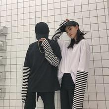 Polera Mujer 2020 Woman Fashion Tee Shirt Korean Style Ulzzang Harajuku False Two Piece Striped T-sh