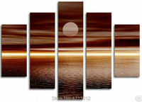 High Quality Yellow Sea Moon Sky Oil Painting On Canvas 5 Pcs Sets Wall Art Picture For Living Room Home Decoration Modern