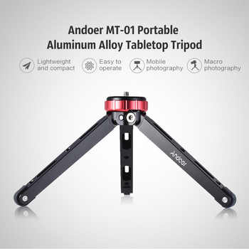 "Andoer MT-01 Portable Aluminum Tabletop Tripod Mini Mobile/Camera Photography Bracket with 1/4"" Screw Mount Max Load 80kg"