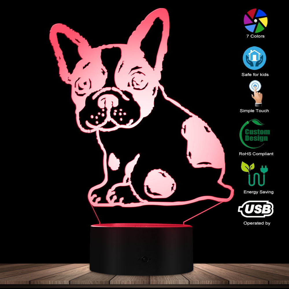 3D Effect Optical Illusion Desk Lamp French Bulldog Shape Custom Name Puppy Dog Pet Modern Table Lamp Colorful Discoloration