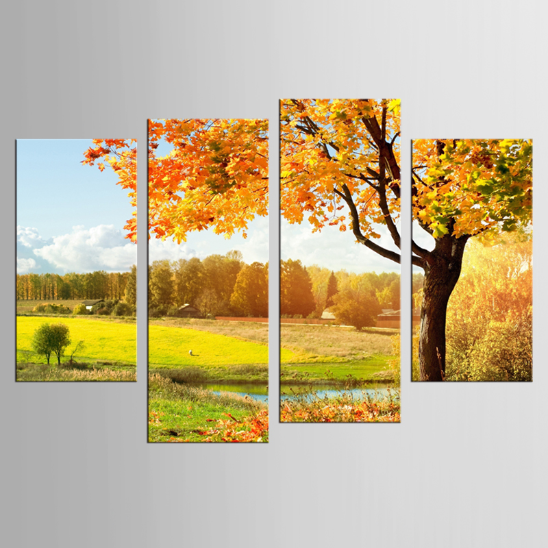 New frame 4 panel canvas printing painting autumn woods and field art prints modern canvas wall painting home decoration
