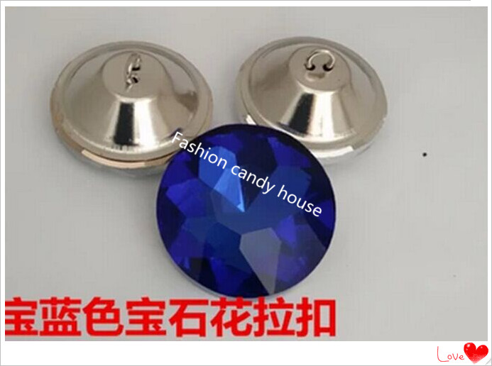 Furniture Accessories 25mm Shinning Rhinestone Crystal Buttons Crystal Glass Tacks Sofa Blue Buttons Upholstery Buttons