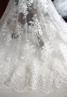 Marfil claro/Off white pestañas tela de encaje para vestidos de novia de lentejuelas bordado de tul de malla de costura