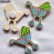 10PCS/LOT New baby high cart wood stickers Kindergarten decorative stickers Kids DIY crafts Fridge Door sticker Children toy(China)