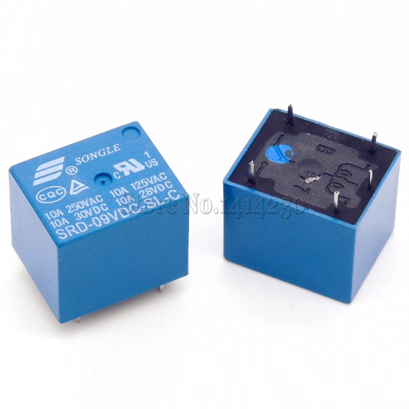 2Pcs 9V DC Power Relay SRD-09VDC-SL-C T73-9V SRD-9VDC-SL-C 5Pin PCB Type In stock free shipping 5pcs dc 12v 10a vdc relay relais songle power srd 12vdc sl c type coil pcb wuk electromagnet