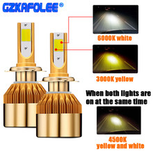 GZ KAFOLEE 2 Pcs H7 Led Bulb TriColor Headlight H8 Led H1 3000K 6000K 4500K H3 H4 H9 H11 HB3 9005 HB4 9006 880 881 Car Headlamp(China)