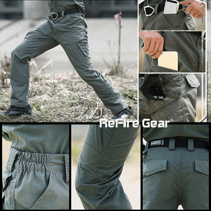 Image 5 - ReFire dişli Rip Stop pamuk su geçirmez taktik pantolon erkekler kamuflaj askeri kargo pantolon Man Multi cepler ordu savaş pantolon