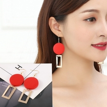 High Quality European-american Temperament Fashionable Red Wood Block Geometric Personality Delicate Earrings