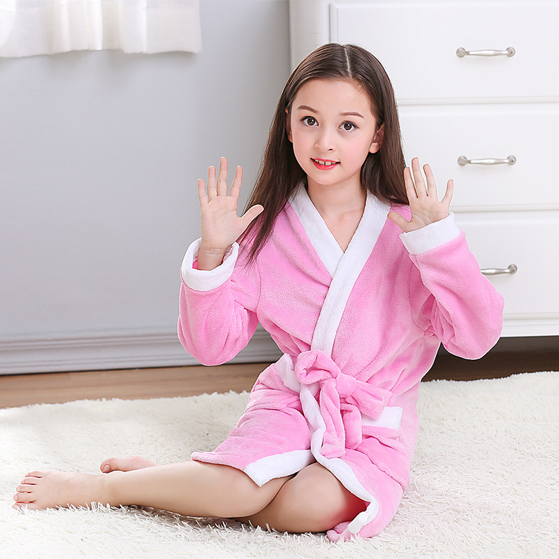 1ad4ecb8be6f Dropwow Winter Kids Bathrobe Fleece Robes For Boys Solid Girls ...