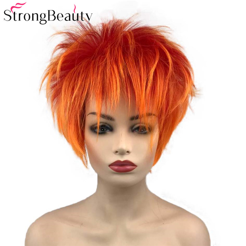Strong Beauty Short Synthetic Wigs Orange Red Wig Men Women's Fluffy Straight Cosplay Party Wigs Heat Ok
